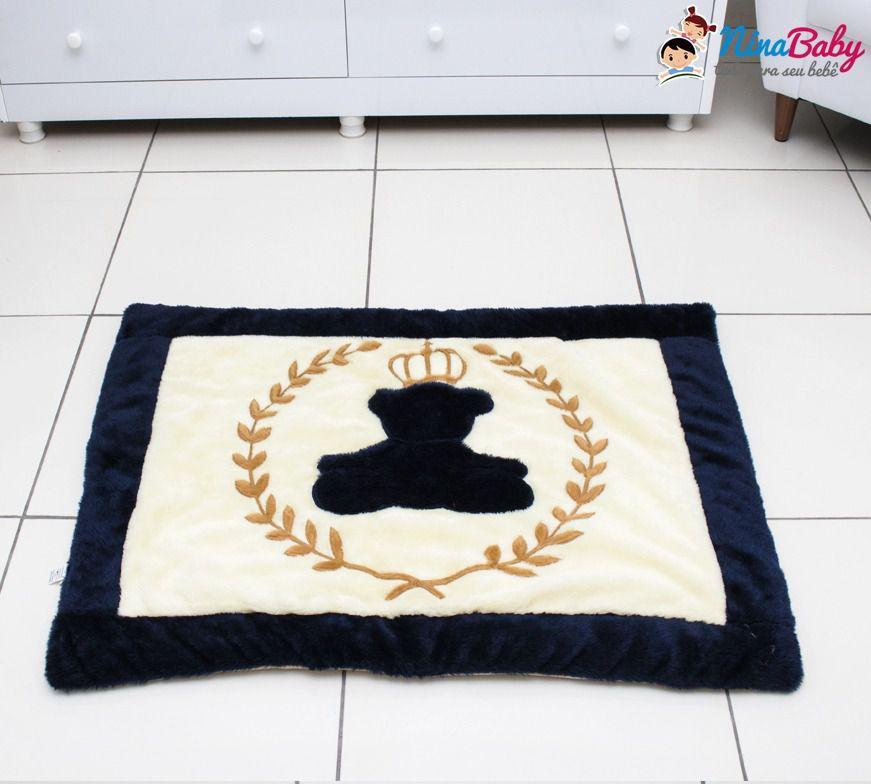 Tapete Urso com Coroa Azul Marinho