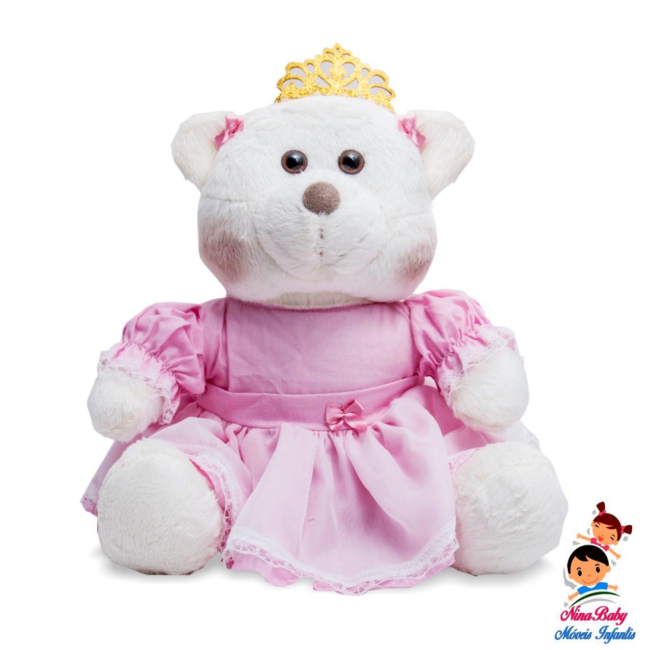 Ursa Princesa M Branca Com Roupa Rosa
