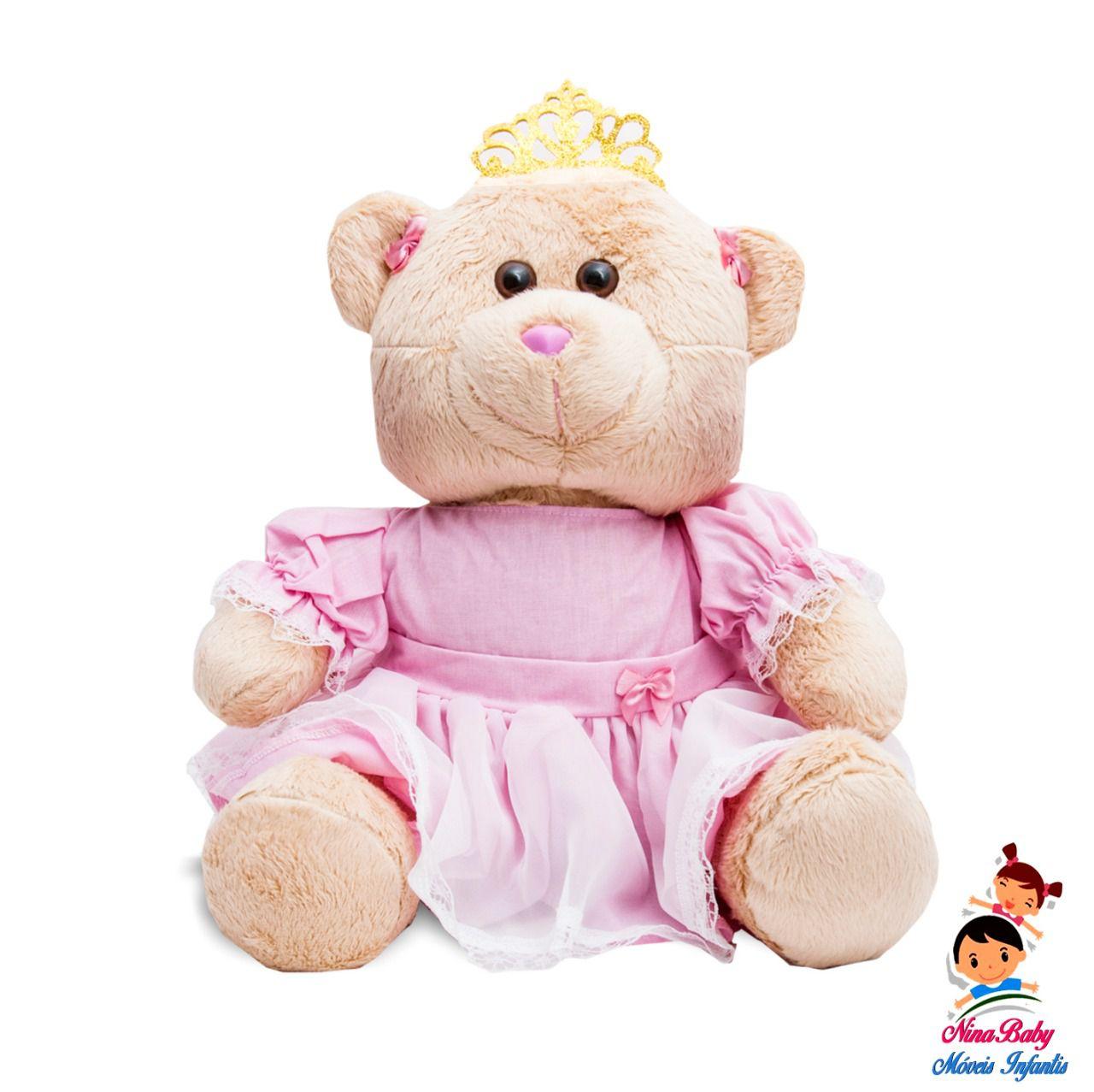 Ursa Princesa Mini Bege com Roupa Rosa