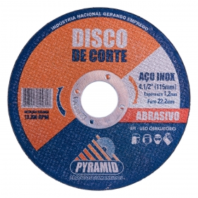 Disco de Corte Fino para Aço Inox  4.1/2  115mm Pyramid