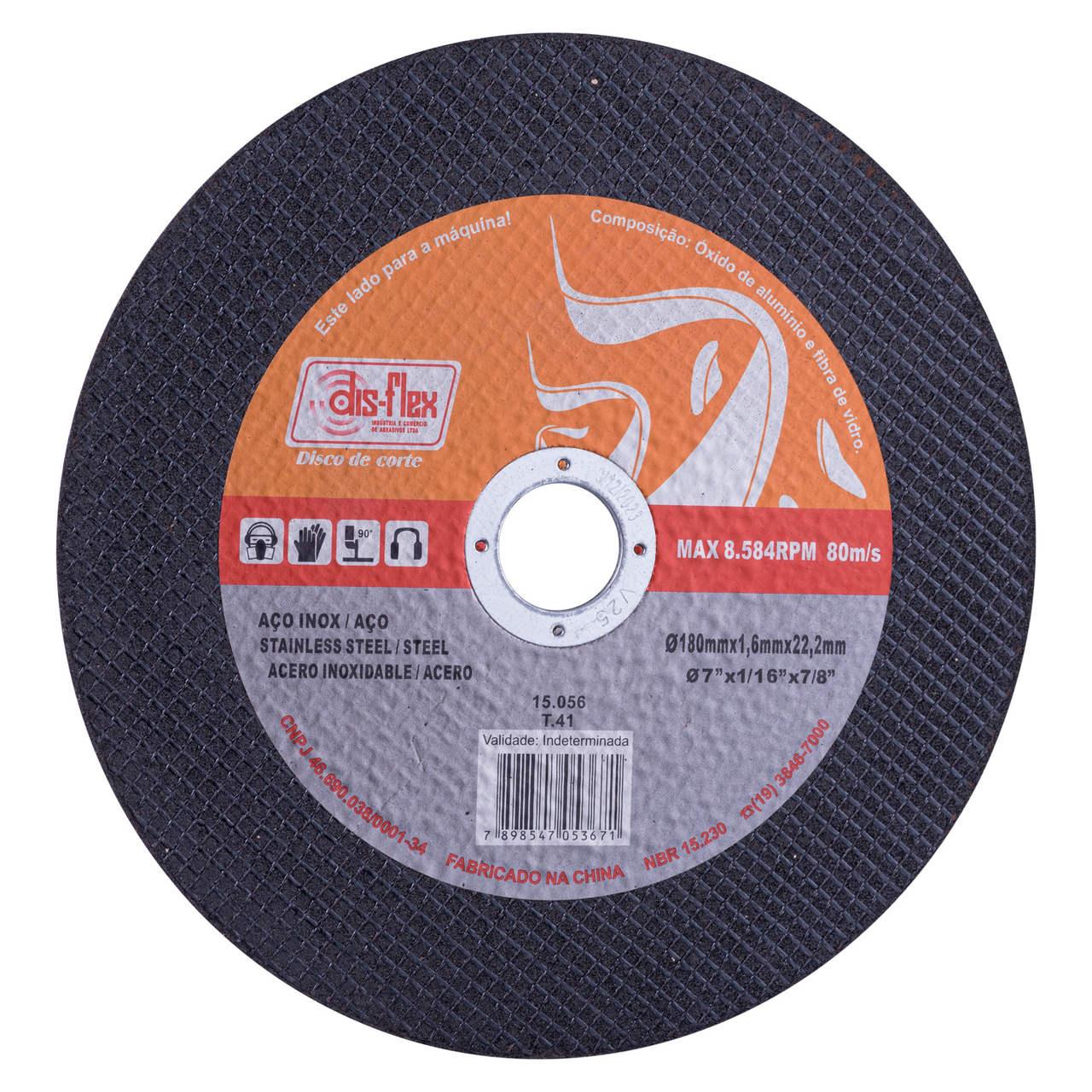 Disco de Corte Fino para aço inox 180x1,6x22,2mm Bronze