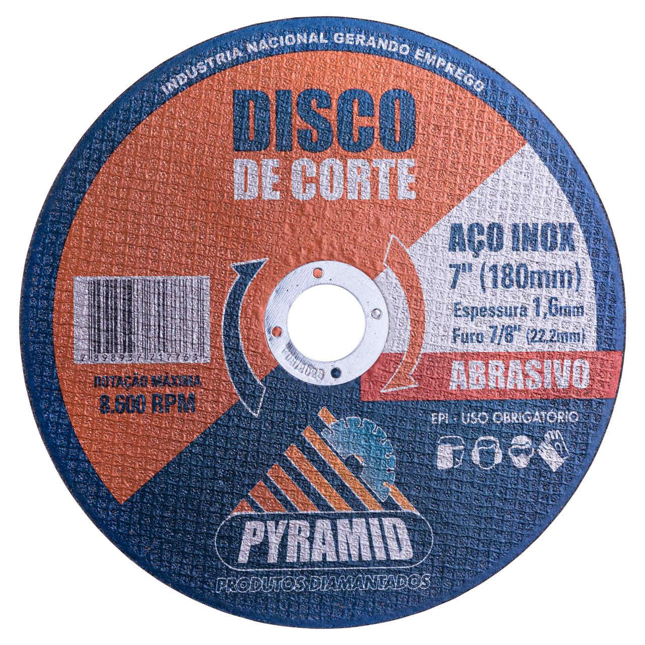 Disco de Corte Fino para Aço Inox 7/8 180mm Pyramid