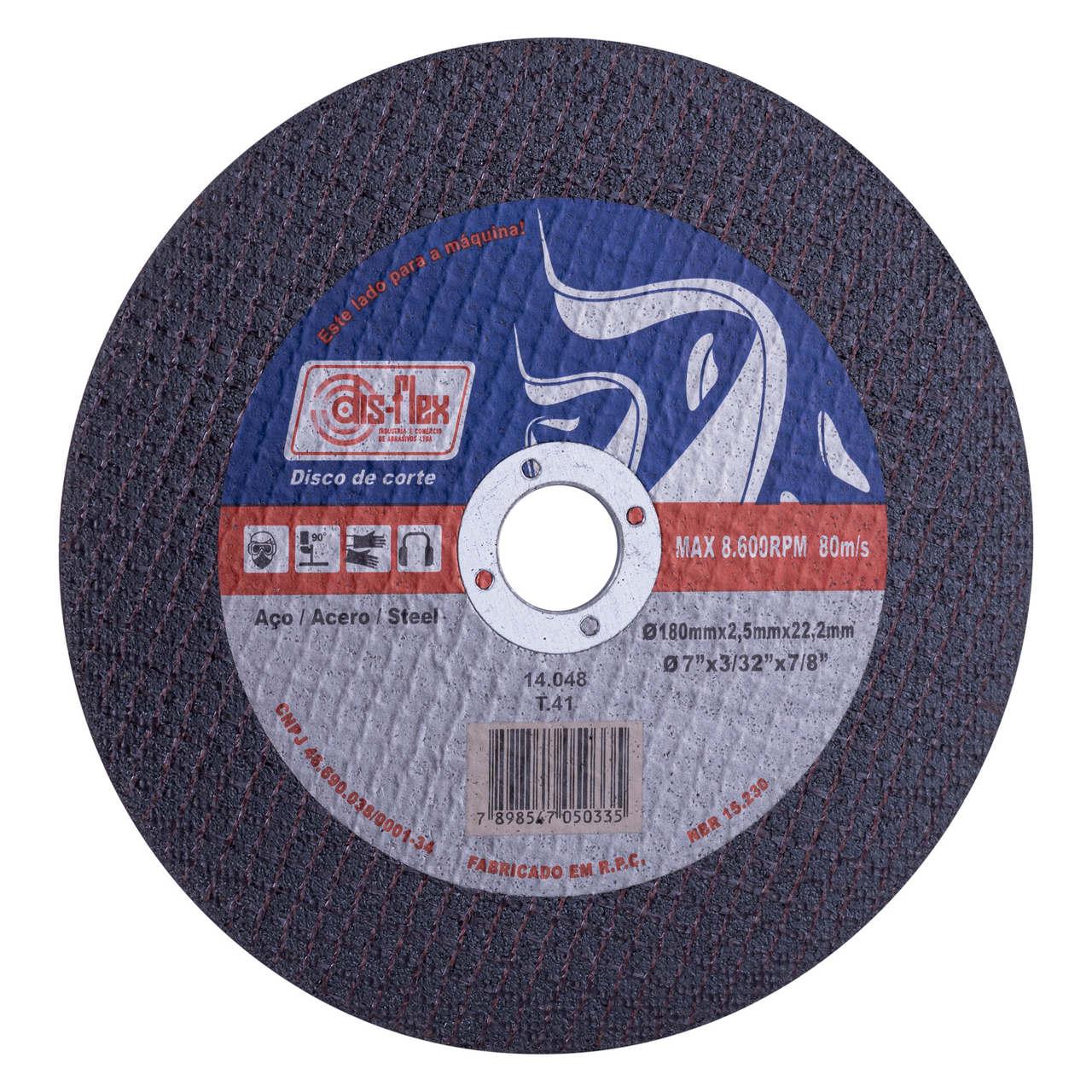 Disco de corte para aço 180x2,5x22,3mm Disflex