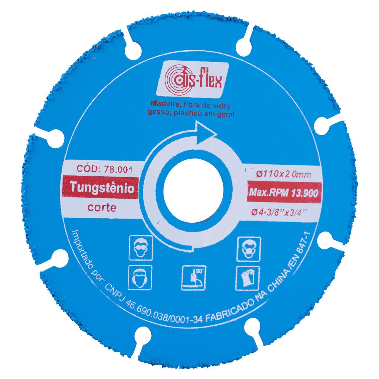 Disco de corte para plástico Tungstênio Segmentado 110mm Disflex