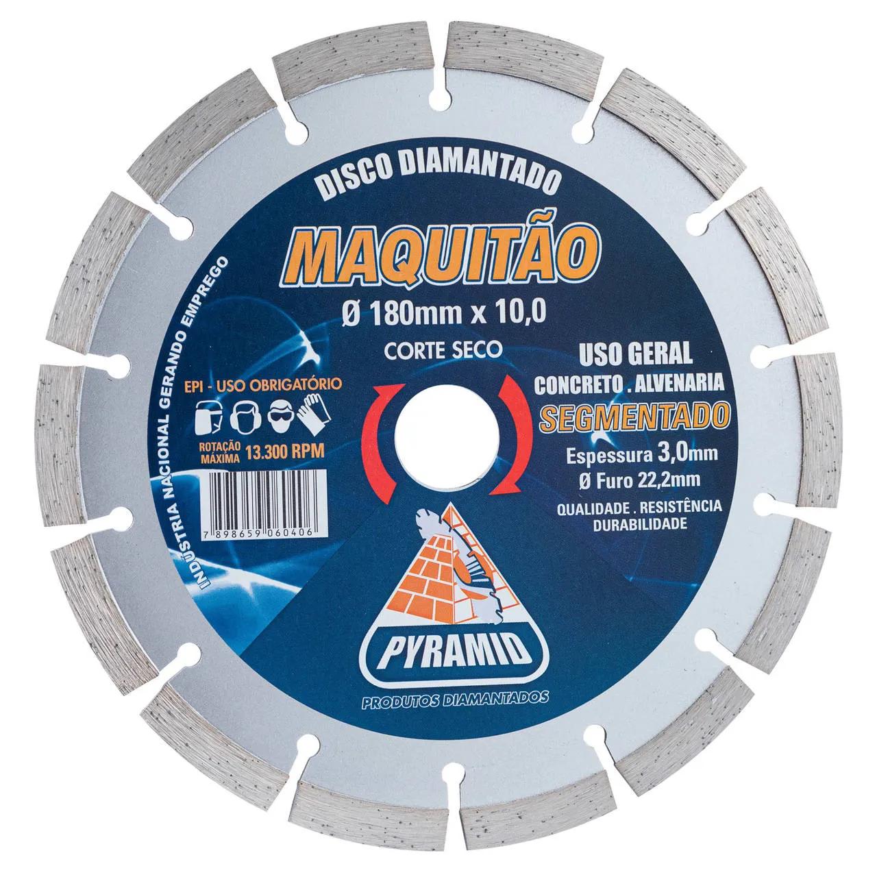 Disco Diamantado Maquitão Segmentado Pyramid 180mm