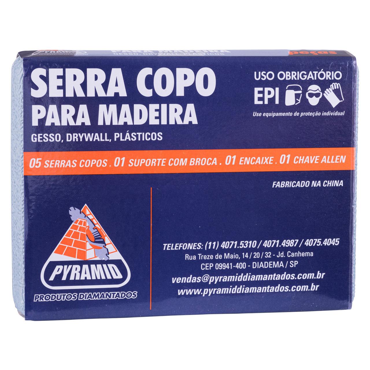 Kit Broca Serra Copo para madeira 8 Peças 64 até 127mm