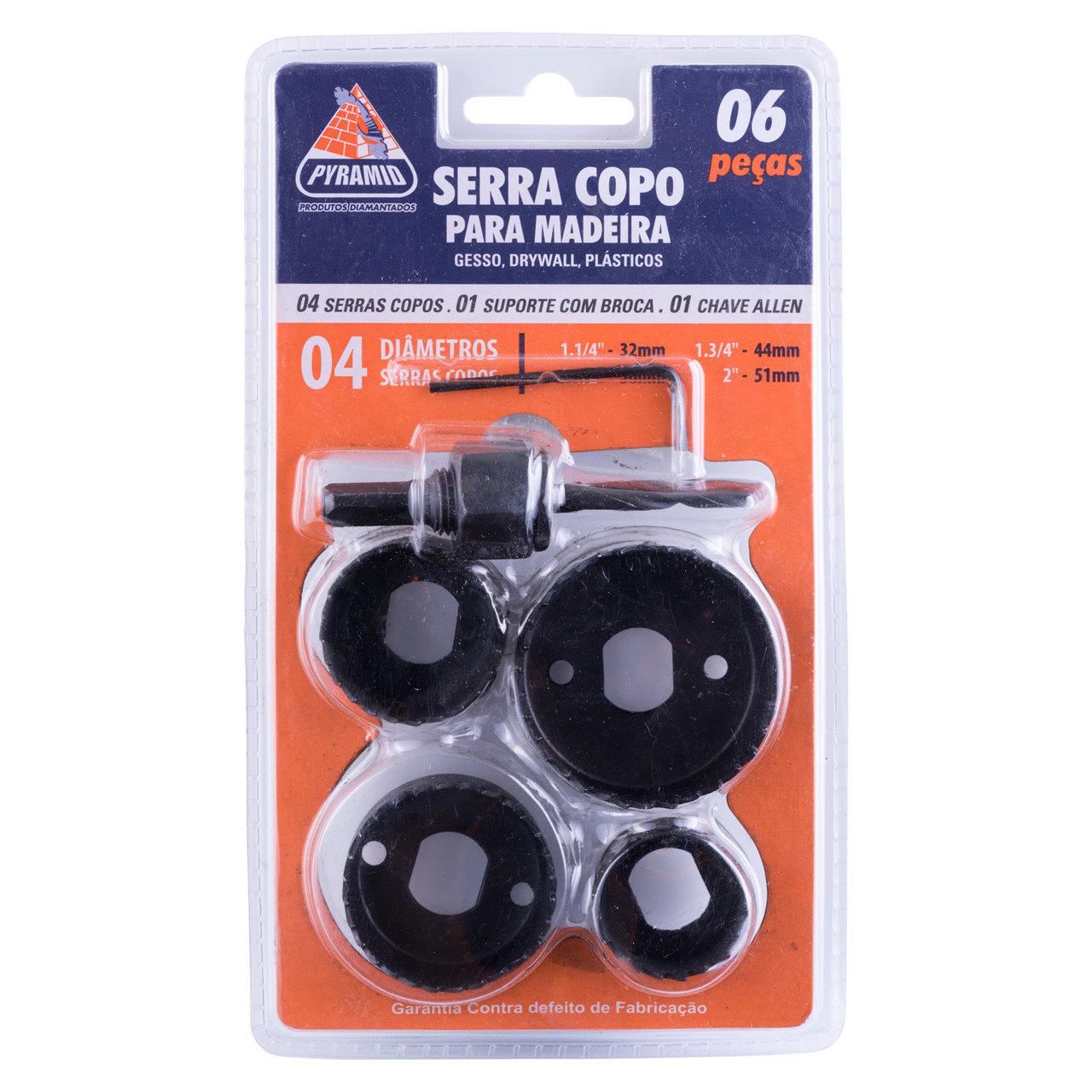 Kit Broca Serra Copo para Madeira 6 Peças 32 até 52mm