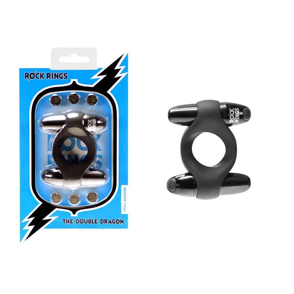 Anel Peniano Duplo Motor Estimulador de Clitóris e 7 Vibrações - Rock Rings The Double Dragon