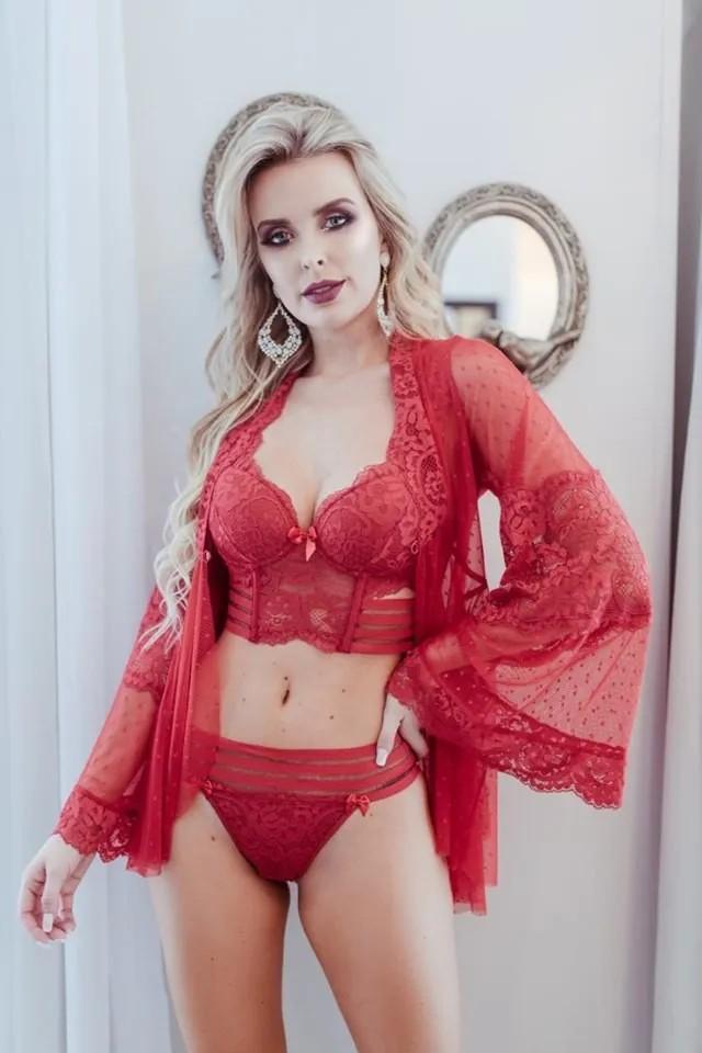 Conjunto Lingerie Sensual Tiras - Vanina Gabriela