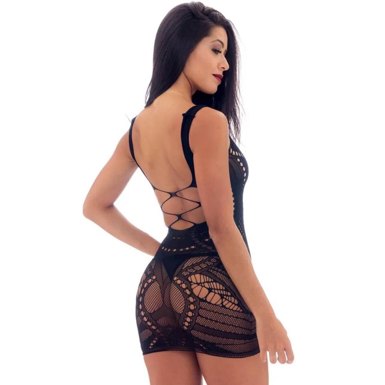 Mini Vestido Com Mangas Preto - Yaffa