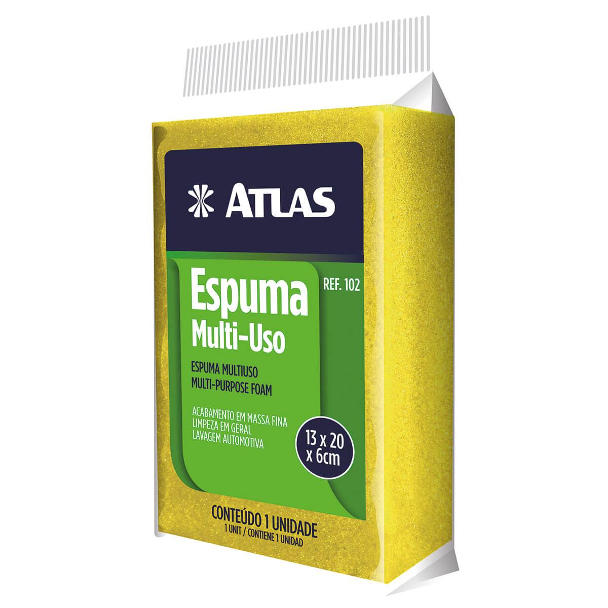 Bloco de Espuma Uso Geral Amarelo 20x13x6cm - Atlas
