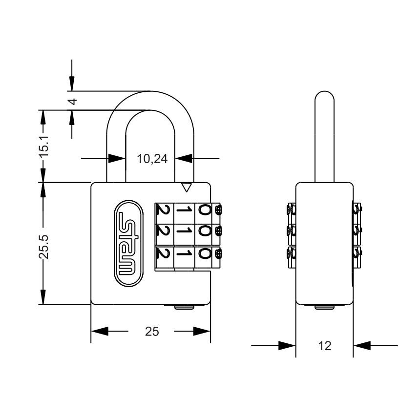 Cadeado Segredo Latonado 25mm - Stam