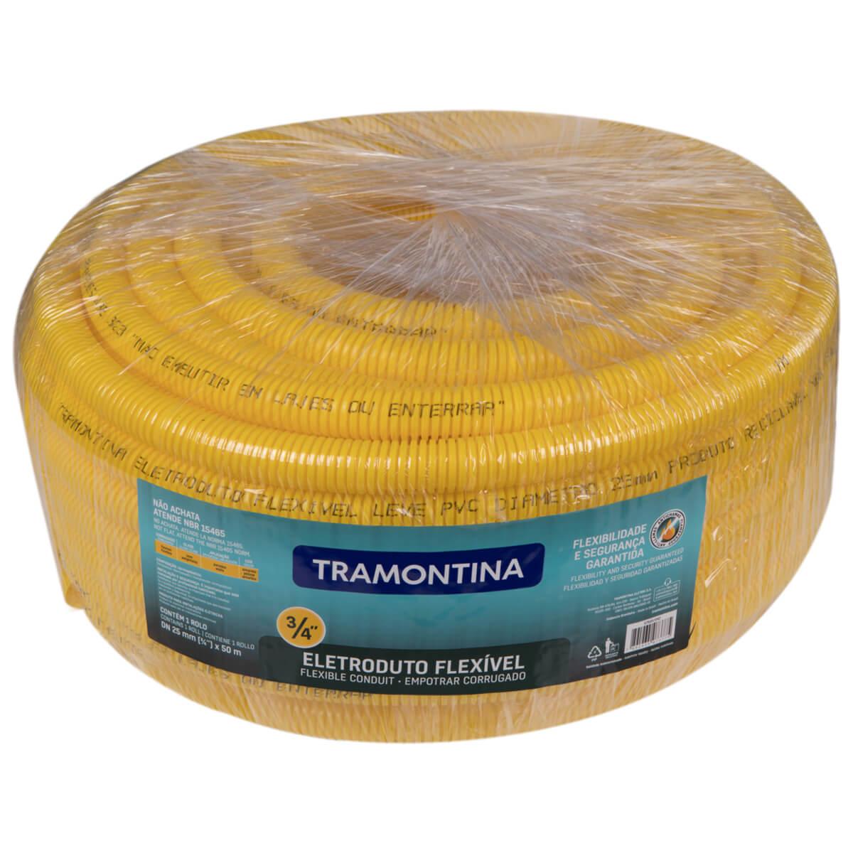 "Eletroduto Corrugado 3/4"" 50 Metros Amarelo - Tramontina"