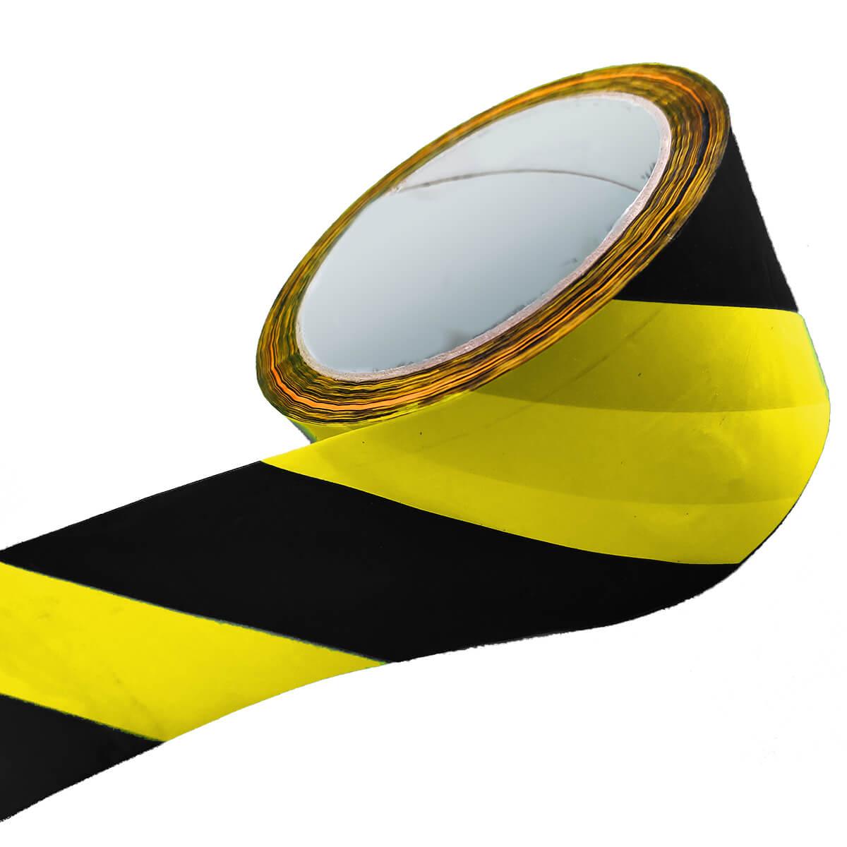 Fita Zebrada Sinalização Amarela e Preta 65mm x 150 Metros
