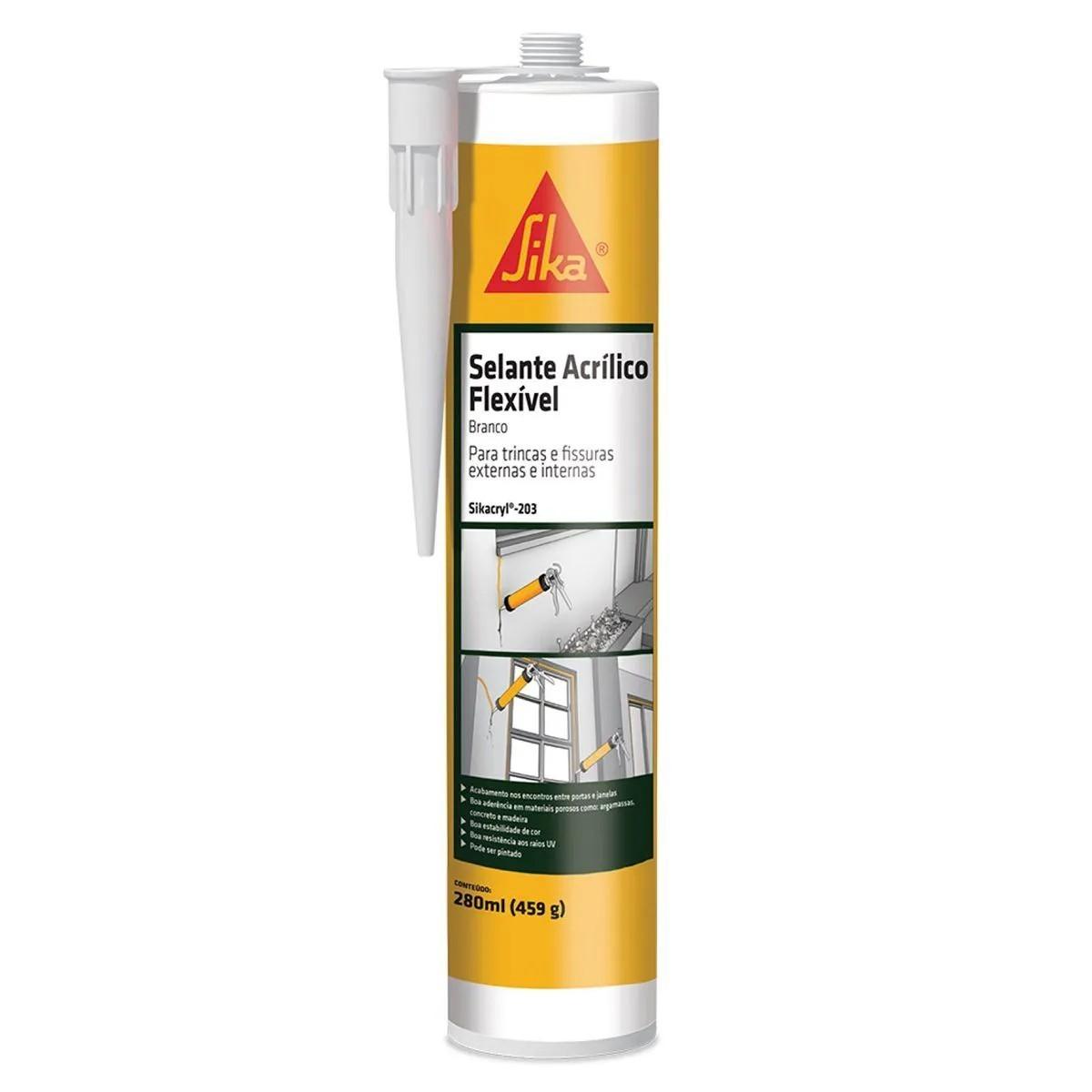 Selante Acrílico Flexível Sikacryl 203 430g - Sika