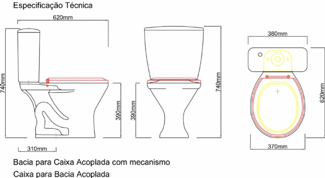 Vaso Sanitário com Caixa Acoplada Branco - Ônix