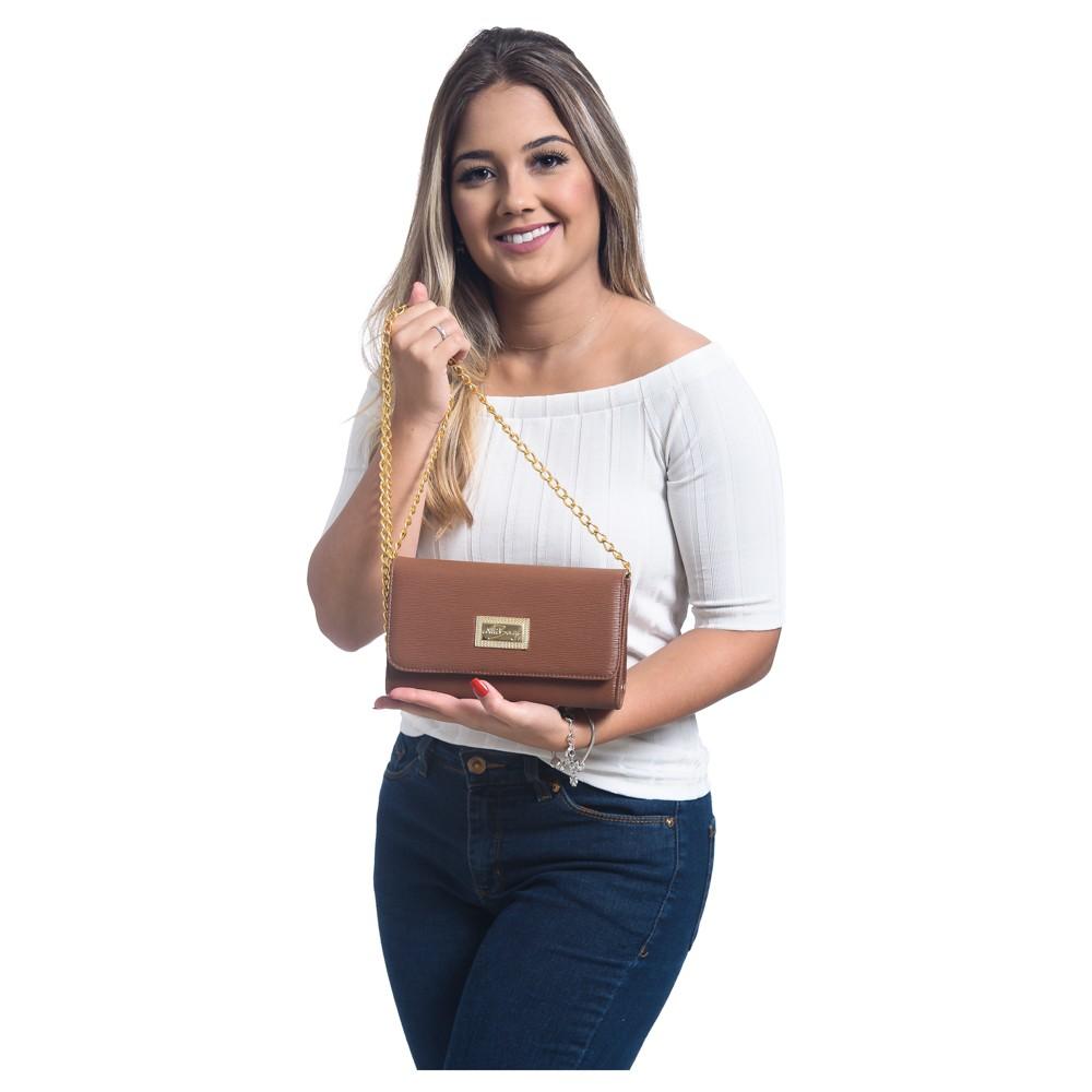 Bolsa Feminina  Clutch Alça Corrente WilliBags Bege