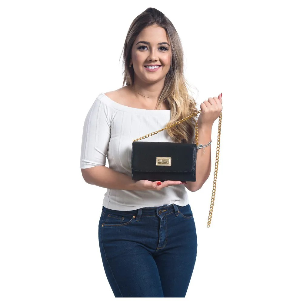 Bolsa Feminina  Clutch Alça Corrente WilliBags Preta