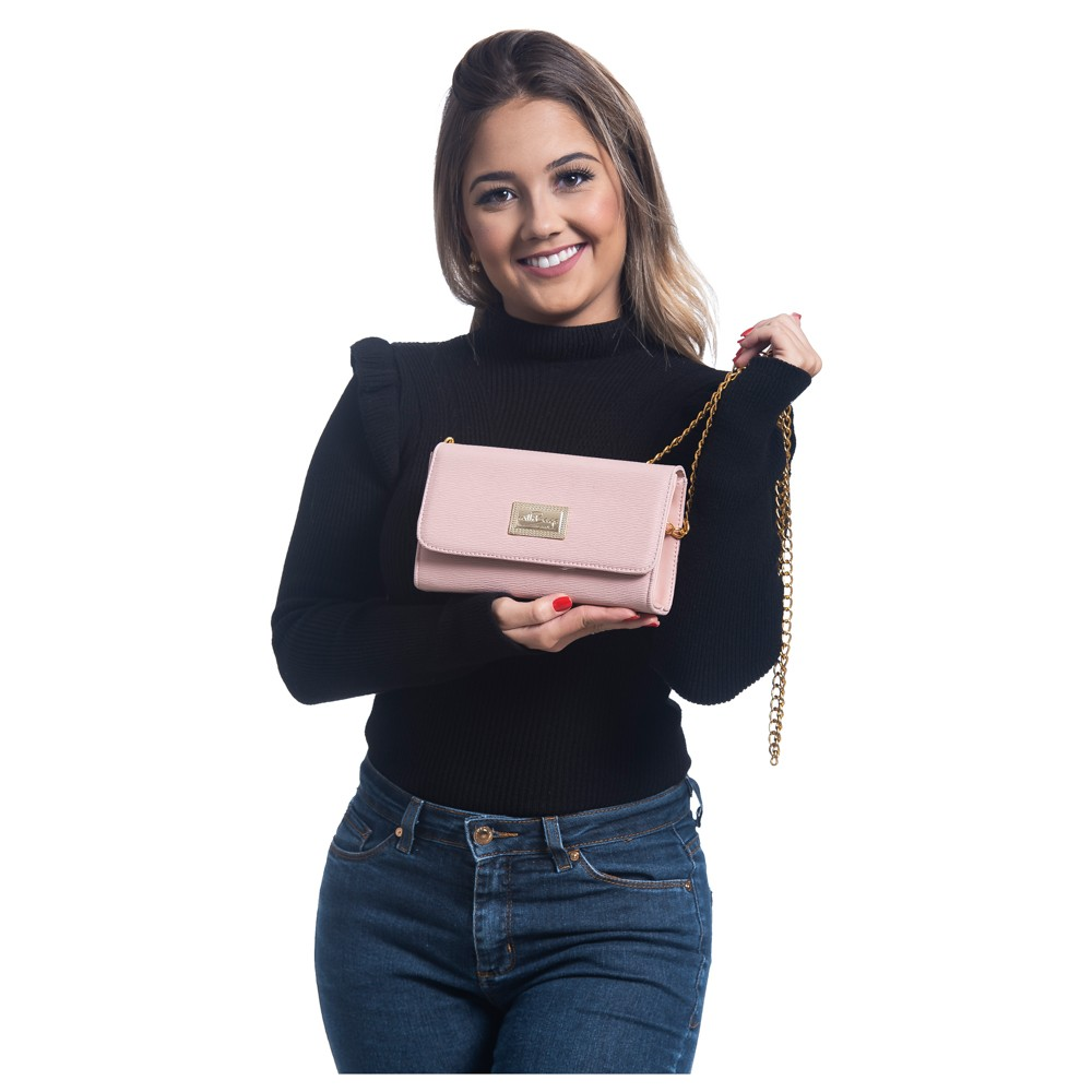 Bolsa Feminina  Clutch Alça Corrente WilliBags Rosa