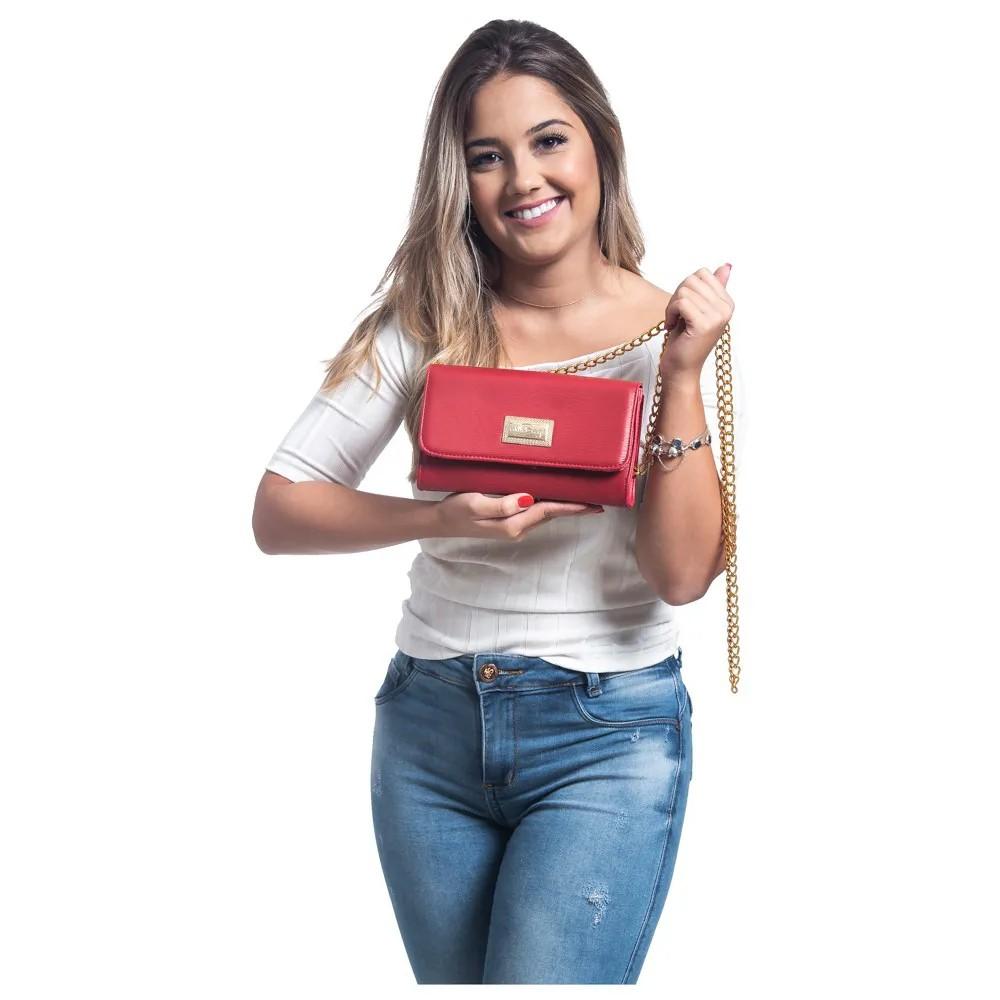 Bolsa Feminina  Clutch Alça Corrente WilliBags Vermelha