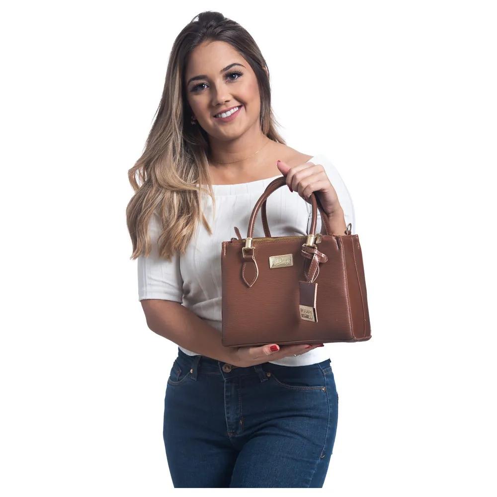 Bolsa Lorena Willibags com Alça Transversal Caramelo