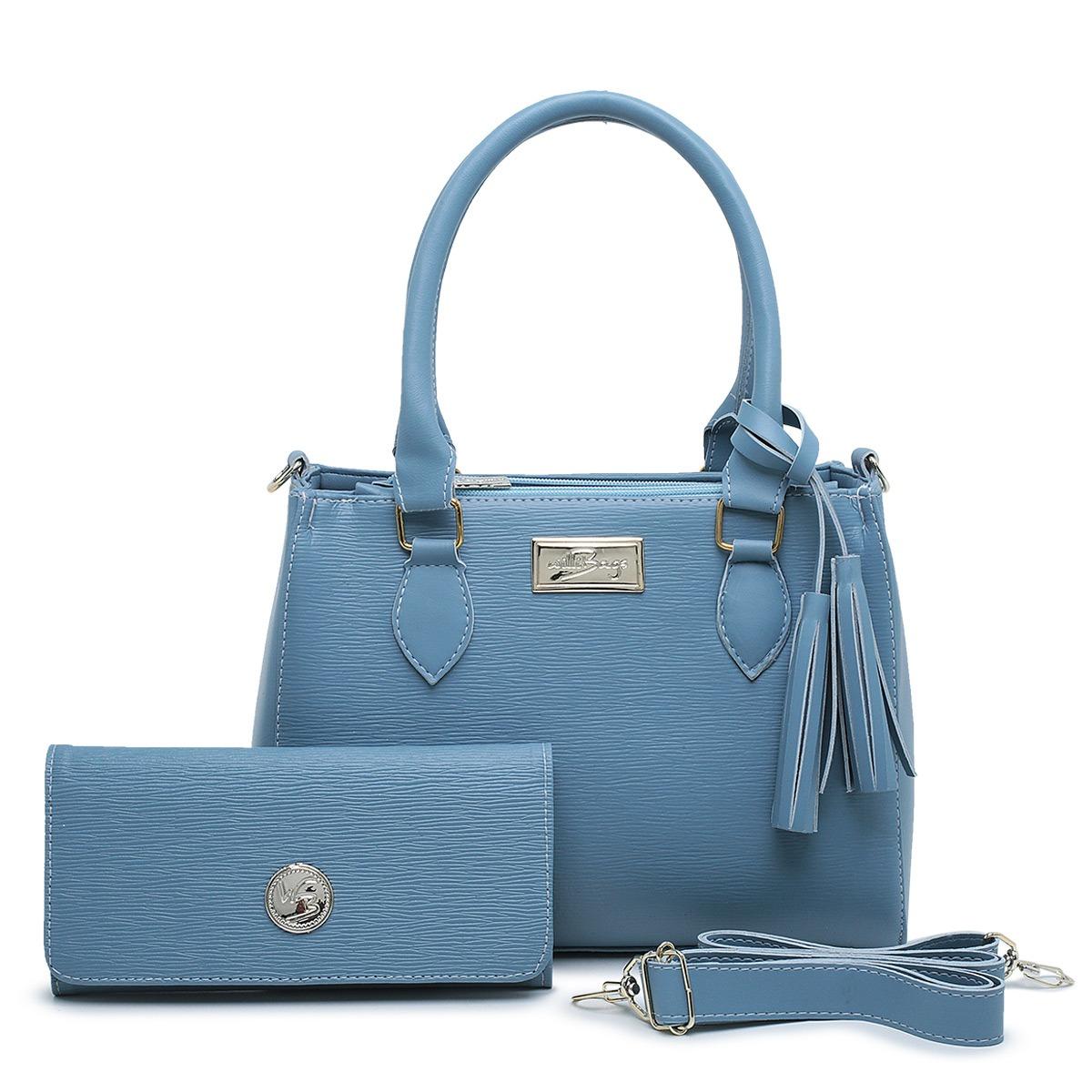 Kit  Bolsa Com Carteira Feminina Barata Linda Transversal Azul