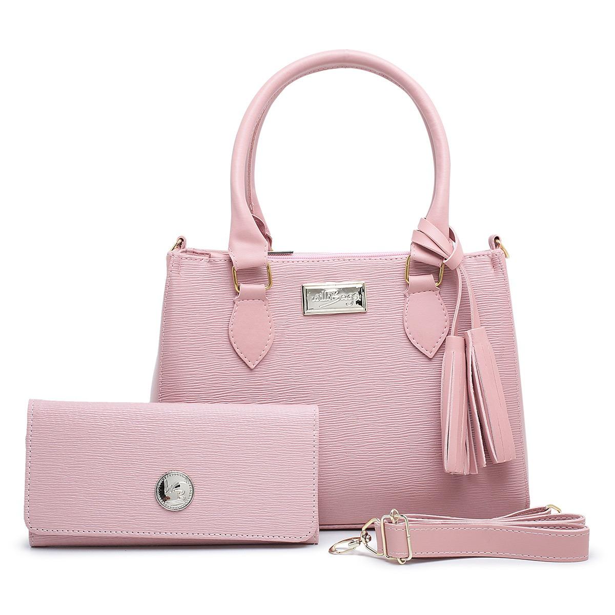 Kit  Bolsa Com Carteira Feminina Barata Linda Transversal Pink