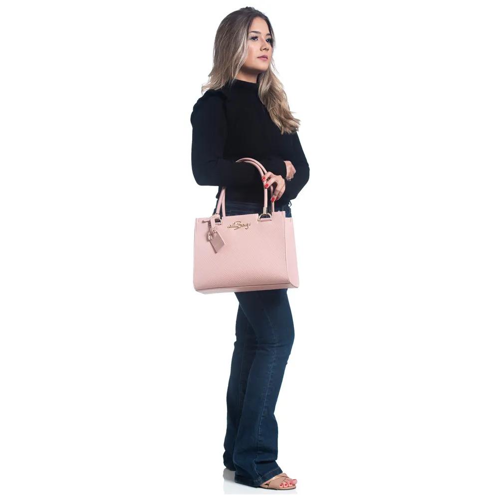 Kit Bolsa Feminina Com Mochila + Grátis Linda Carteira Top Rosa