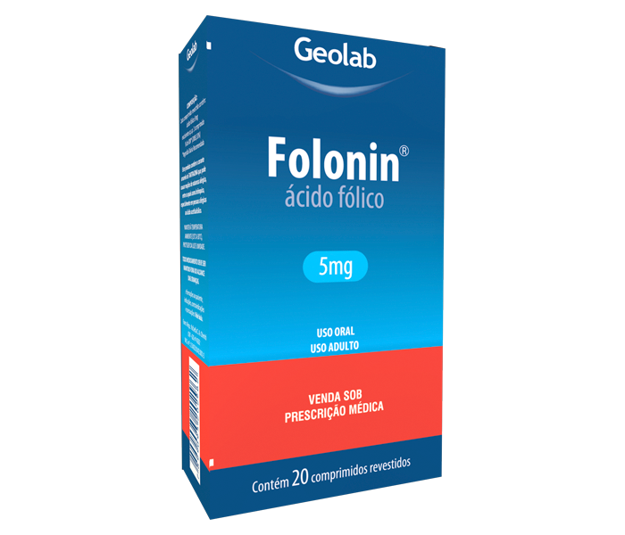 Folonin (Ácido Fólico) 5mg com 20 comprimidos Geolab
