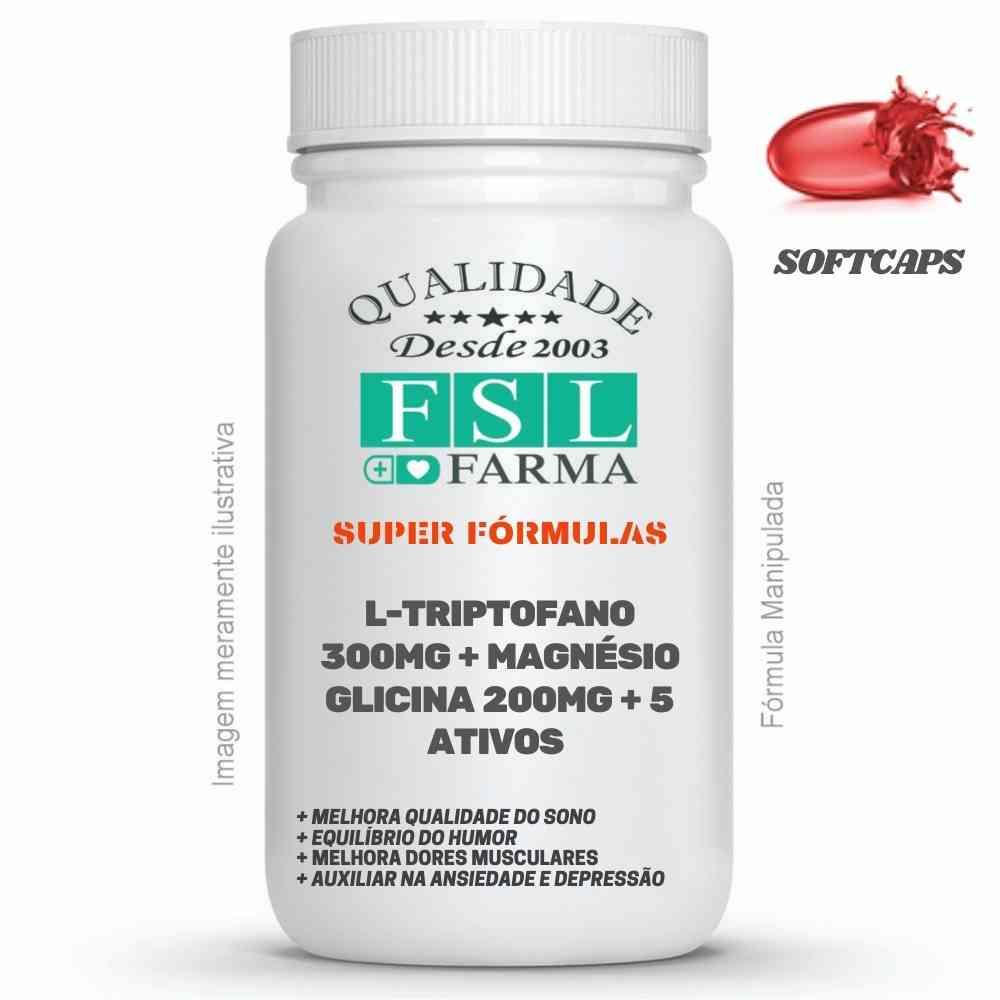 L-triptofano 300mg + Magnésio Glicina 200mg + 5 Ativos Softcaps ®
