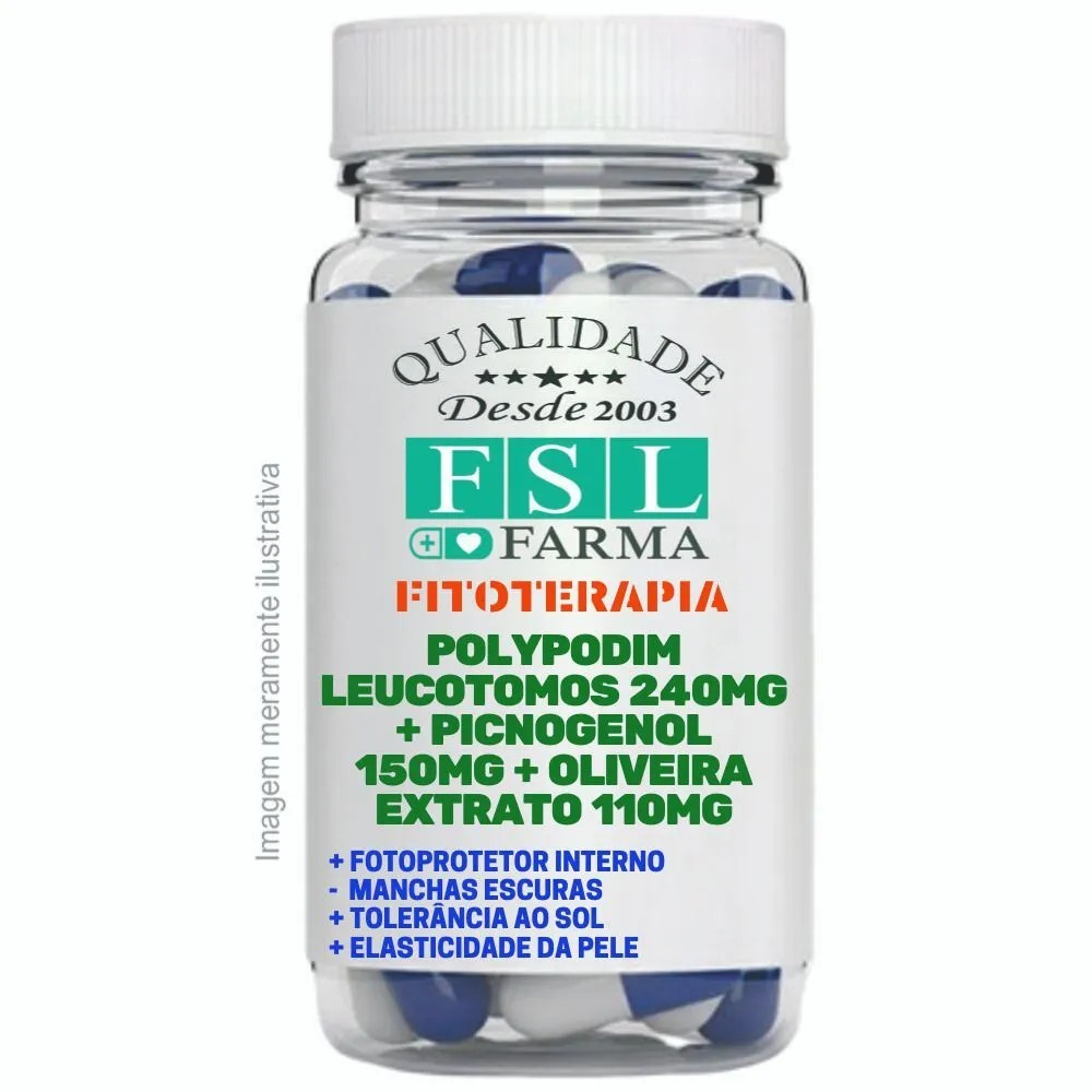 Polypodium 250Mg + Pycnogenol 150Mg + Oliveira - 60 Cáps