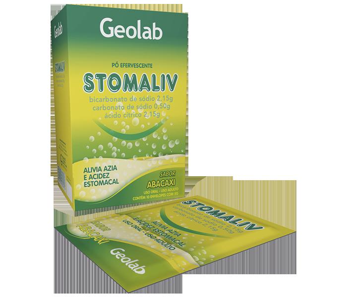 Stomaliv contem 10 envelopes com 5g cada (sabor abacaxi) - Geolab