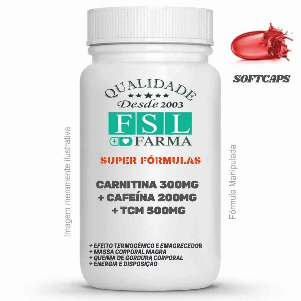 Termogênico Emagrecedor Triplo - L-Carnitina 300mg + Cafeína 200mg + TCM 500mg Softcaps ®