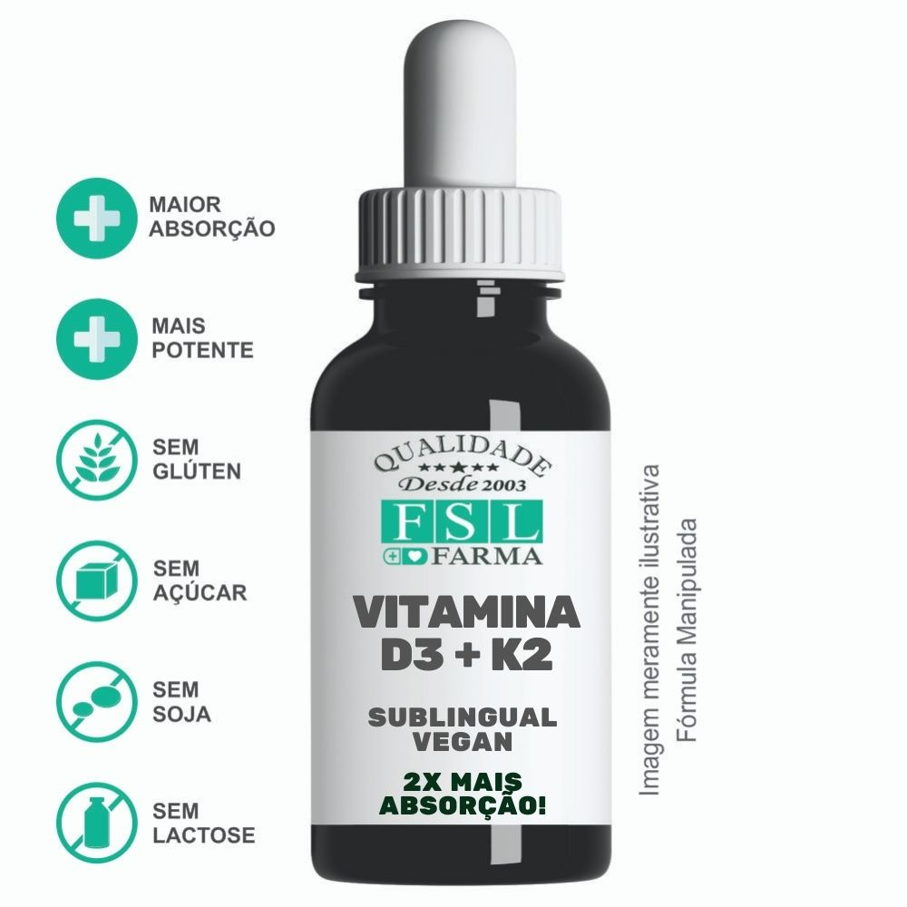 Vitamina D3 10.000 UI + K2 120 mcg - Sublingual Vegano