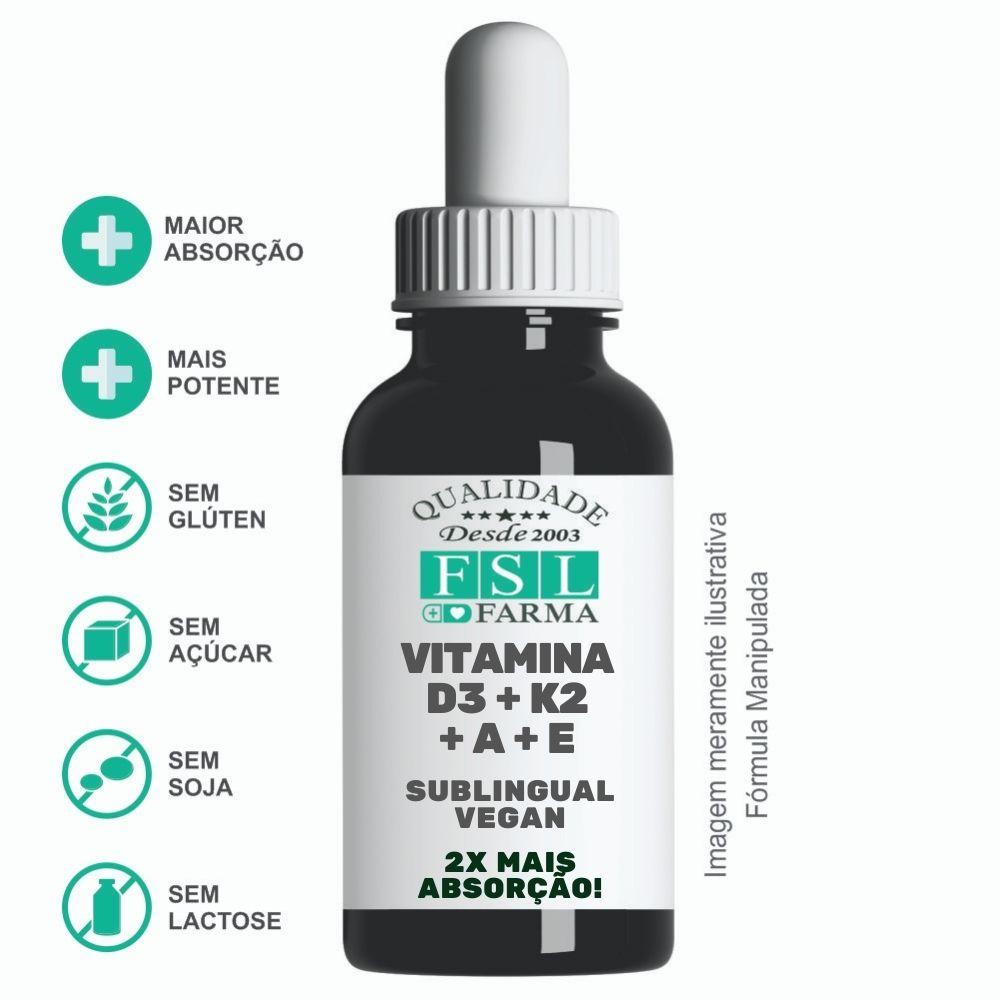 Vitamina D3 + K2 + A + E - Sublingual Vegan