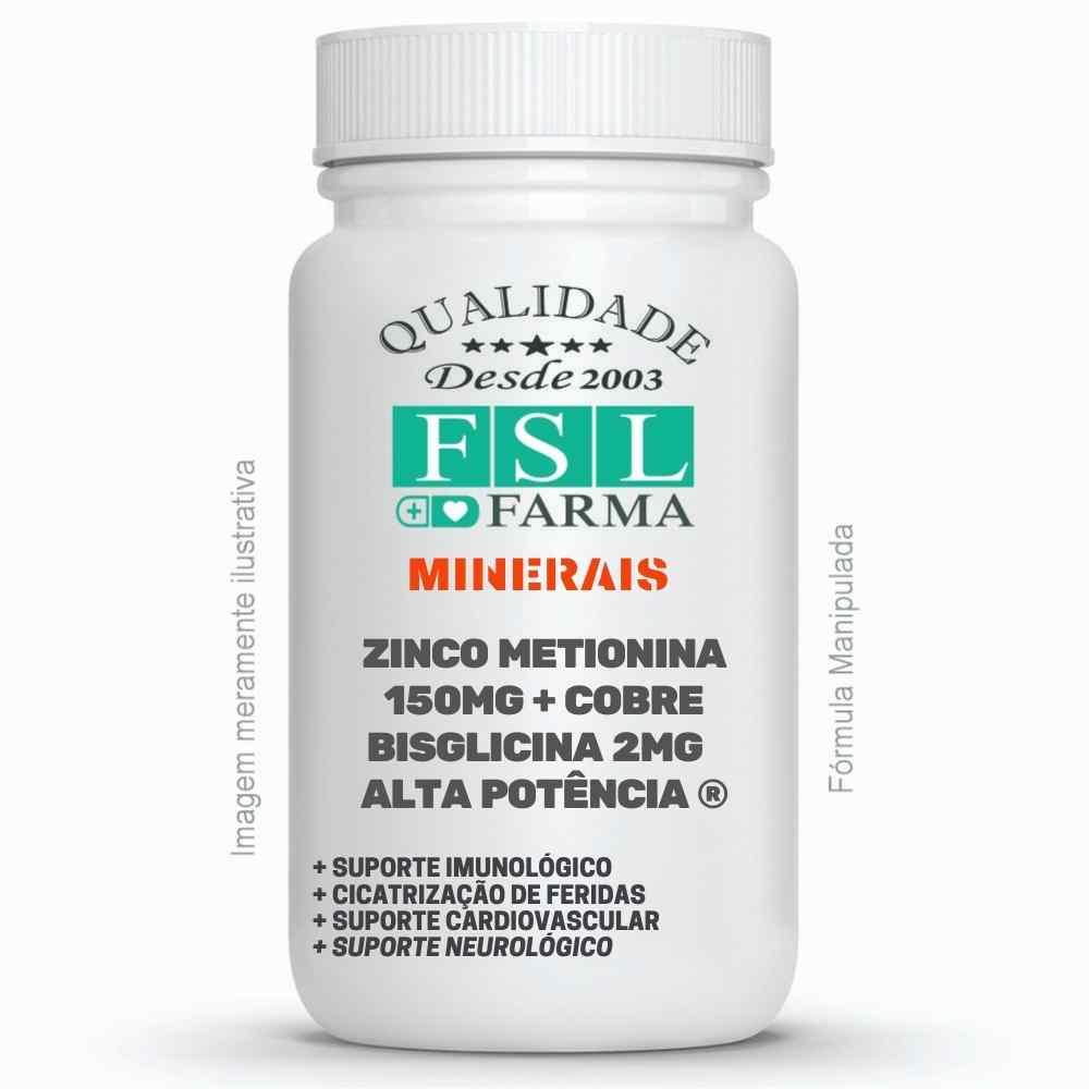 Zinco Metionina 150mg + Cobre Bisglicina 2mg - Alta Potência ®