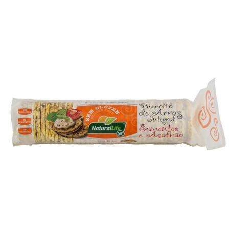 Biscoito de Arroz Mini com Sementes e Açafrão Sem Glúten  80g - NaturalLife