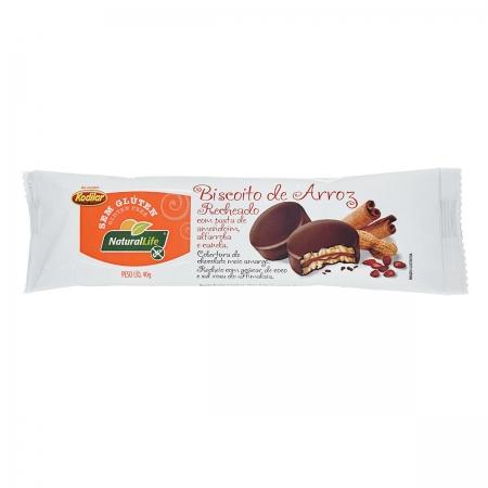 Biscoito de Arroz Recheado com Pasta de Amendoim, Alfarroba e Canela Sem Glúten 40g- NaturalLife