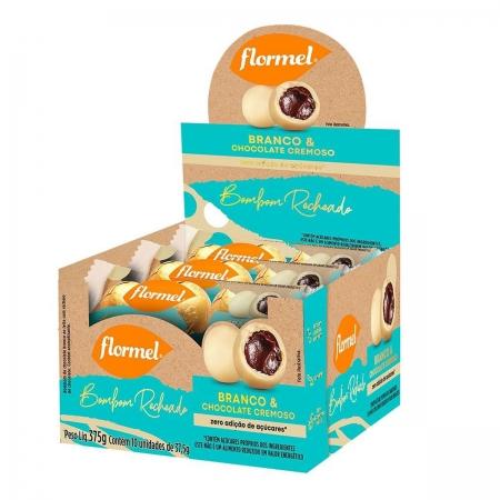 Bombom Recheado Chocolate Branco e Chocolate Cremoso Display com 10un de 37,5g - Flormel