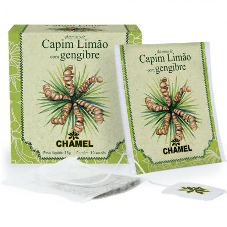Chá Misto de Capim Limão e Gengibre com 10 Sachês - Chamel