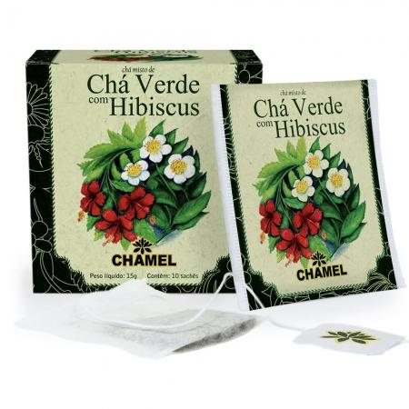 Chá Misto de Chá Verde e Hibiscus com 10 Sachês - Chamel