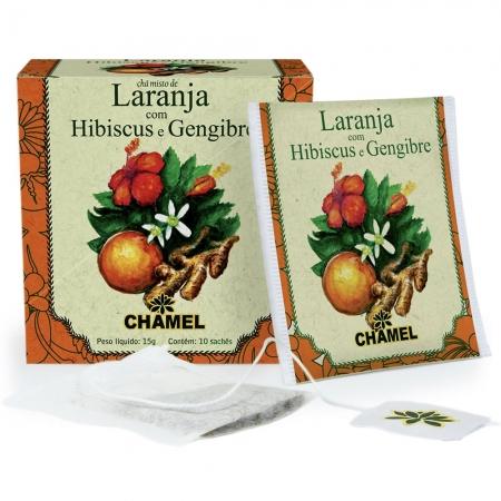 Chá Misto de  Laranja, Hibiscus e Gengibre com 10 Sachês - Chamel