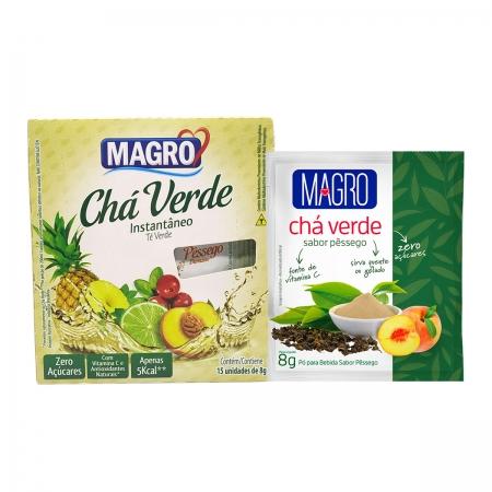 Chá Verde Diet Instantâneo Sabor Pêssego Display  com 15 un de 8g - Magro