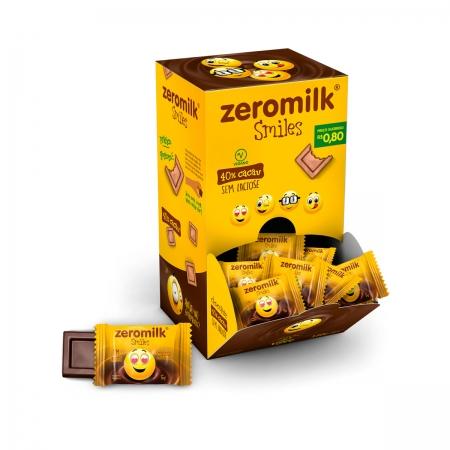 Chocolate 40% Cacau Smile Zero Lactose Display com 30 un. de 5g - ZeroMilk