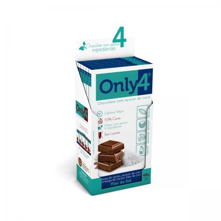 Chocolate 70% Cacau com Flor de Sal Display com 6 un. de 80g - Only4