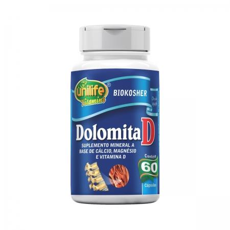 Dolomita D Cálcio, Magnésio e Vitamina D 950mg 60 Cápsulas - Unilife