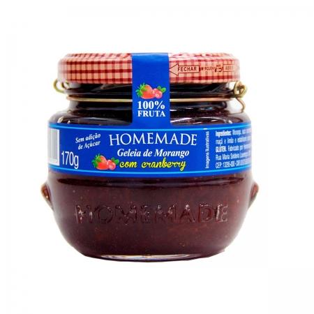 Geleia de Morango com Cranberry 100% Fruta 170g - Homemade