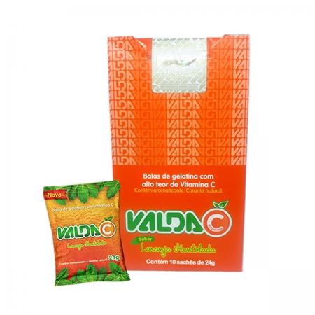 Goma com Vitamina C Sabor Laranja Display com 10 Sachês de 24g - Valda