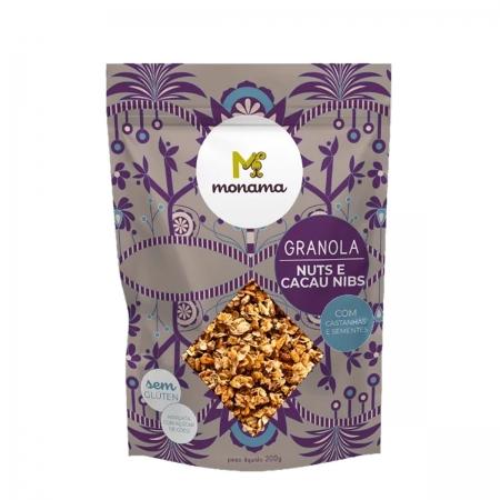 Granola sabor Nuts e Cacau Nibs 200g - Monama
