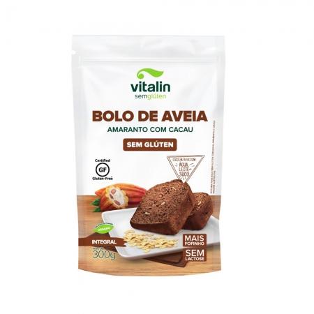 Mistura Integral para Bolo de Aveia, Amaranto e Cacau Sem Glúten 300g - Vitalin